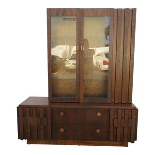 Brutalist Mid Century Modern Cubist Two Part China Display Cabinet by Lane For Sale
