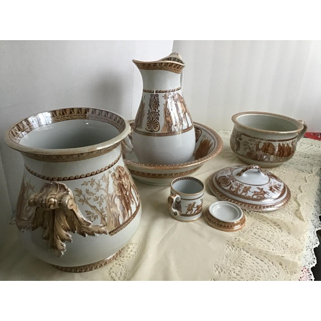 1800s Greek Roman Emperor Chamber Pot Pitcher Bathroom Set - 7 Pieces For Sale - Image 4 of 13