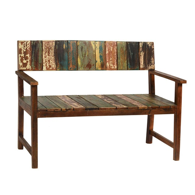 Reclaimed Boat Wood Bench - Image 2 of 2