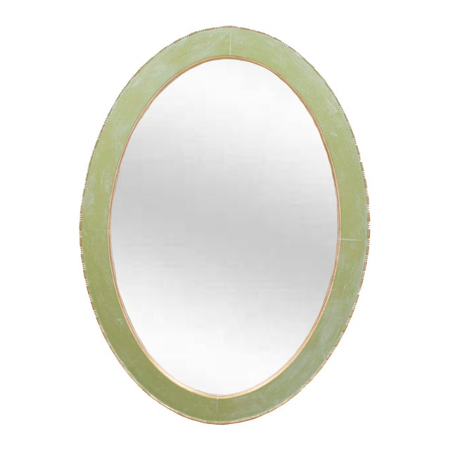 Solid Oak Oval Mirror Circa 1900 Painted Celery Green, Cerused White & Gold Gilt For Sale In Los Angeles - Image 6 of 6