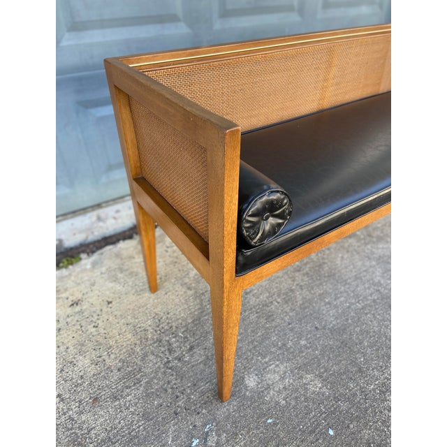 Metal Danish Style Black Leather Bench For Sale - Image 7 of 13
