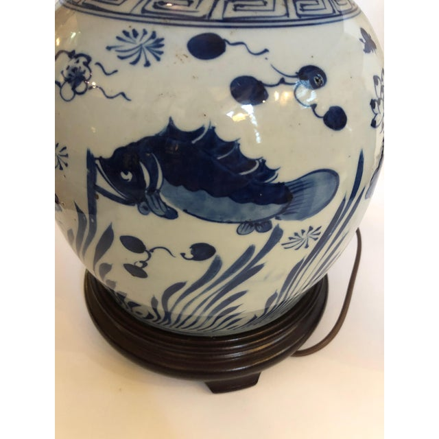 White Classic Blue and White Canton Style Ginger Jar Lamps With Carp-A Pair For Sale - Image 8 of 11