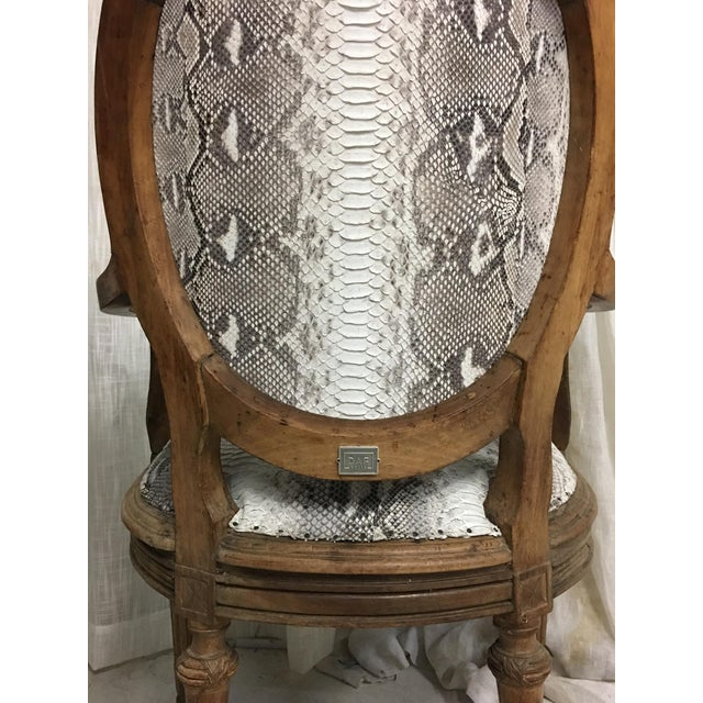Hollywood Regency Daf House Genuine Python Leather and Swarovski Crystal Arm Chair For Sale In Los Angeles - Image 6 of 12