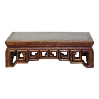 Oriental Brown Wood Stone Top Rectangular Table Stand Display Easel For Sale
