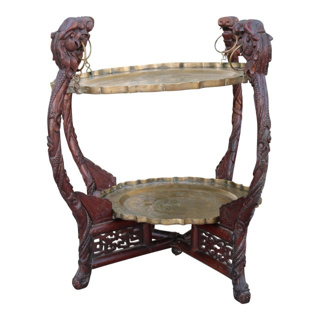 Antique Chinese 2 Tier Brass Center Table For Sale