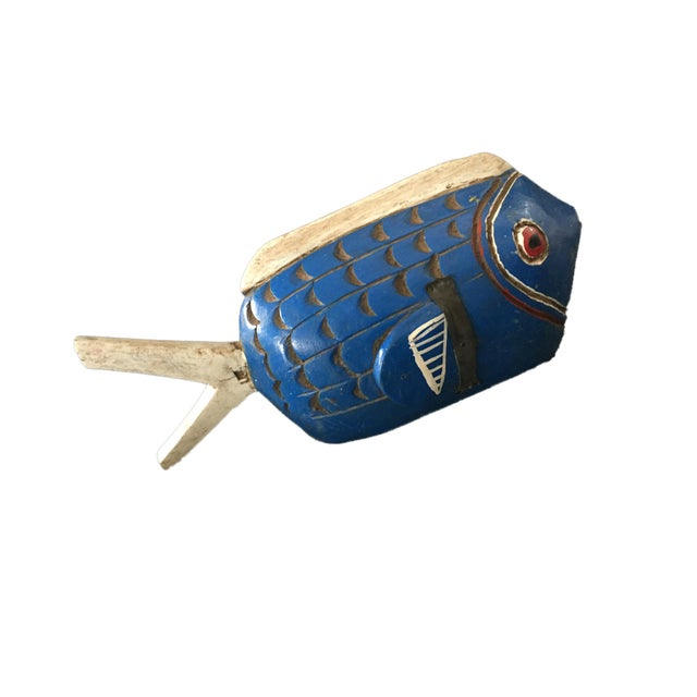 "Blue Tribal Bozo Mali Wood Fish 18"" W For Sale - Image 8 of 9"