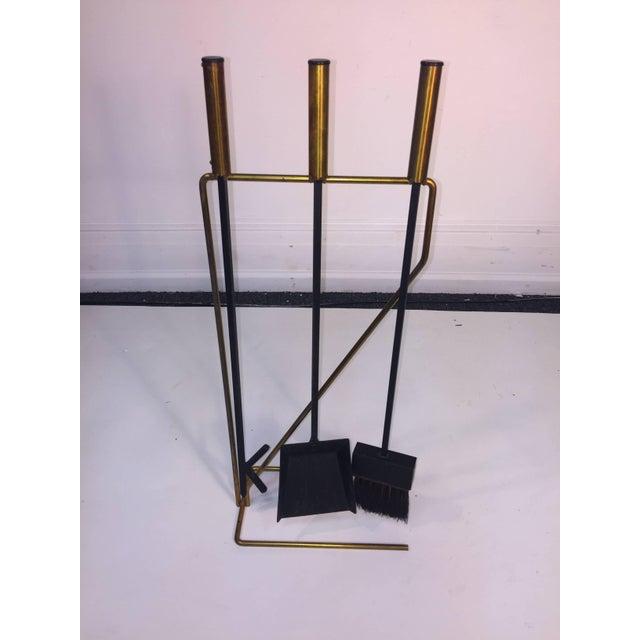 Mid-Century Modern Brass and Black Iron Modernist Firetool Set For Sale - Image 4 of 7