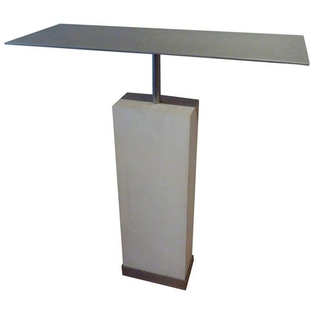 Mid-Century Style Limestone and Steel Console Table For Sale - Image 4 of 8