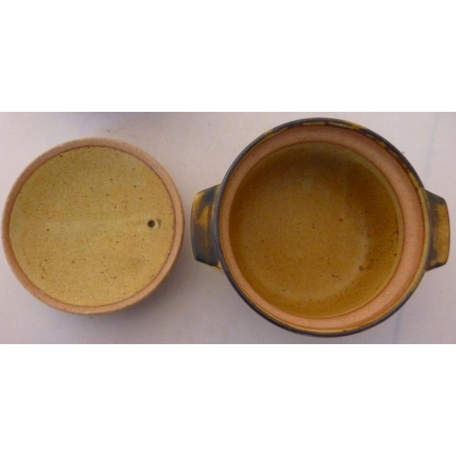 1960s Chinoiserie Inspired Studio Pottery Covered Soup Bowls ~ Set of Five For Sale - Image 5 of 13