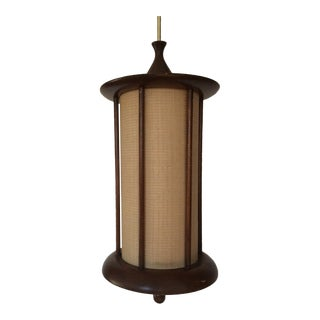 1950s Mid Mod Walnut Swag Lamp For Sale