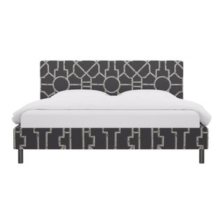 King Tailored Platform Bed in Grey Baldwin Bamboo By Scalamandre For Sale