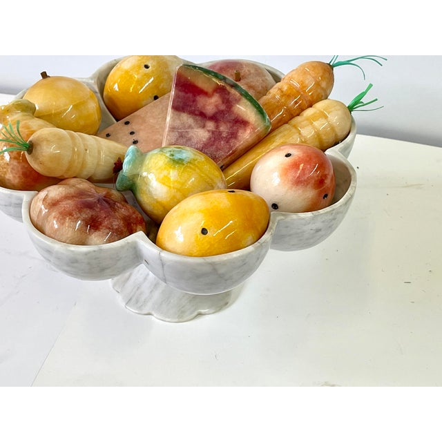 Vintage Italian Marble Tazza Holding Fruit and Vegetables For Sale - Image 4 of 13