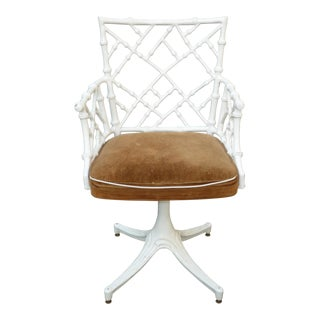 Vintage Mid Century Modern White Faux Bamboo Chinese Chippendale Swivel Chair For Sale