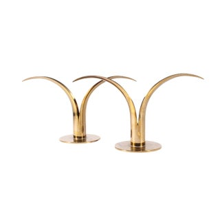 "Vintage Mid-Century Swedish Ystad ""Lily"" Brass Candlestick Holders - a Pair For Sale"