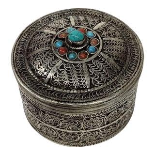 Vintage Tibetan Silver Trinket Box