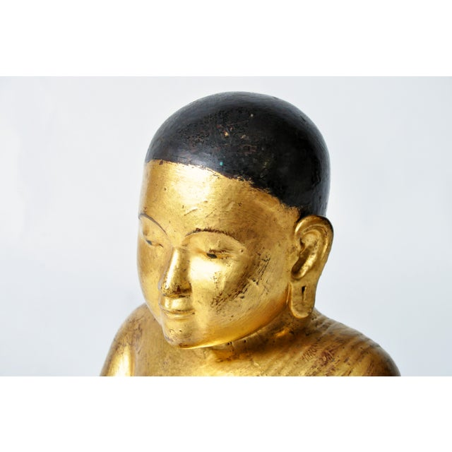 Gold Giltwood Buddhist Apostles- A Pair For Sale - Image 8 of 11