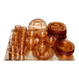 1980s Cristal D'Arques Pink Swirl Glass Dinnerware Set - 230 Pieces For Sale