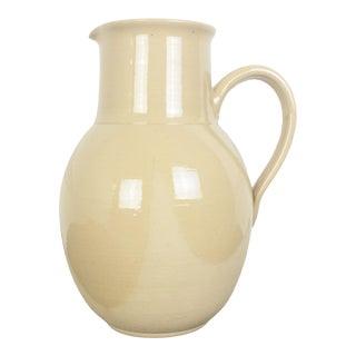 Modern Terra Cotta Studio Pottery Pitcher With Dip Glaze For Sale