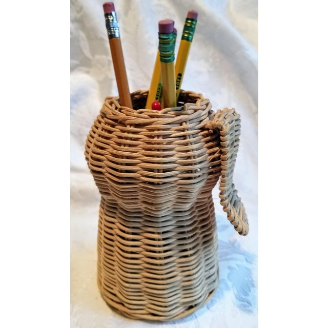 Mid-Century Modern Mid-Century Wicker Dog Desk Pencil Holder For Sale - Image 3 of 5