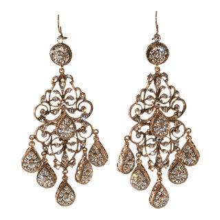 """Chandelier Earrings 4"""" Long Rhinestones Dangles Drops Pierced For Sale"""