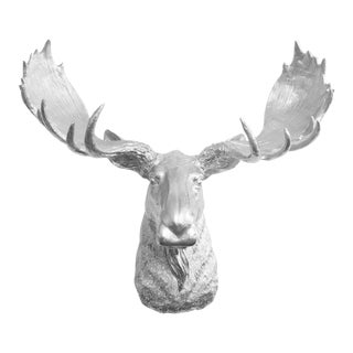 Wall Charmers Silver Faux Taxidermy Moose Head Wall Sculpture For Sale