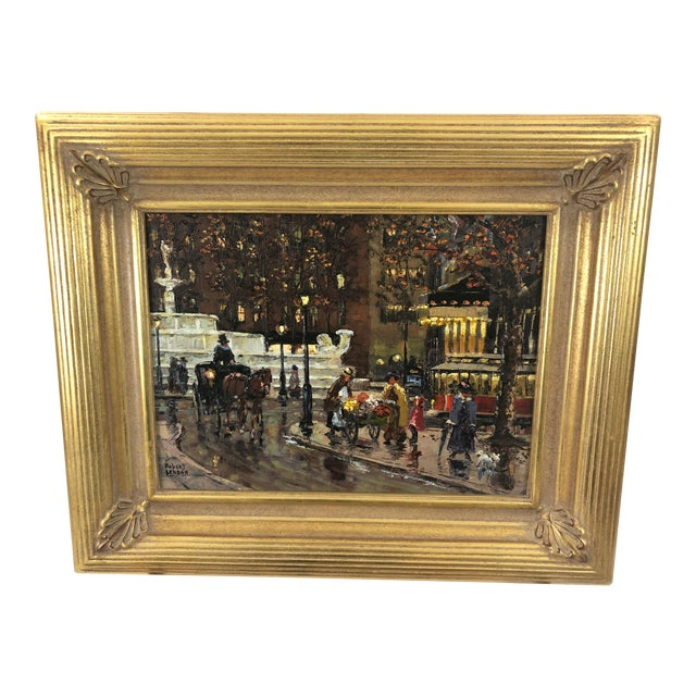 Original Oil Painting of New York City Pulitzer Fountain at the Plaza For Sale
