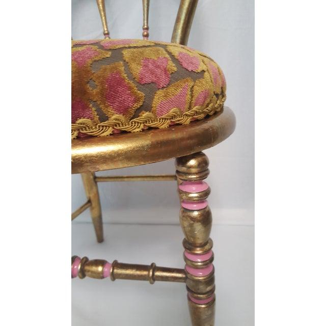 Hollywood Regency Gold-Leafed & Leopard Velvet Vanity Chair - Image 3 of 8