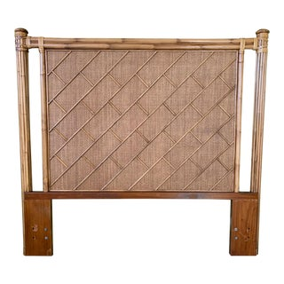 Rattan Chinoiserie Queen Size Headboard For Sale