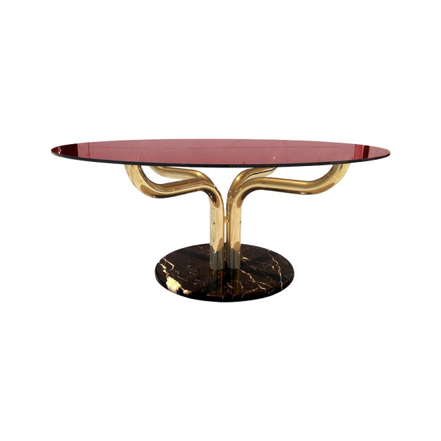 Unique Brass-Marble and Glass Italian Dining Table For Sale