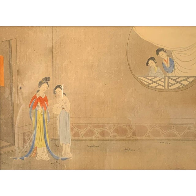 Antique Chinese painting on silk or paper depicting 4 women in ancient wardrobes. Framed in a gilt wood frame behind...