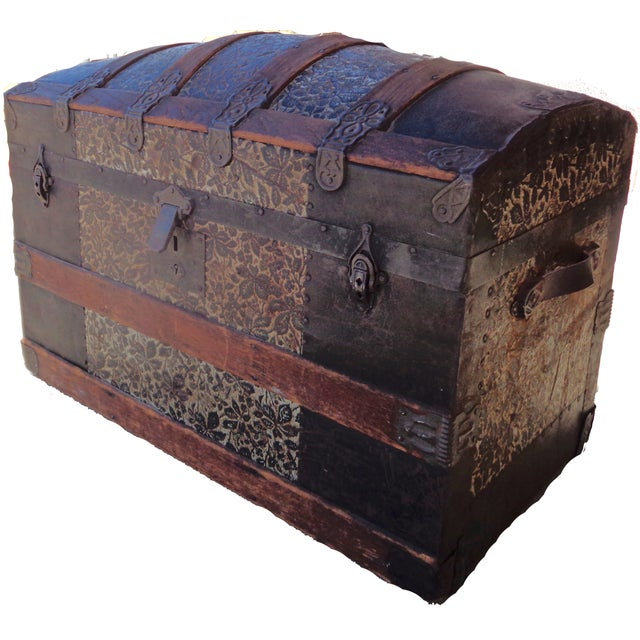 Antique Late 1800s Barrel Top Trunk - Image 4 of 4