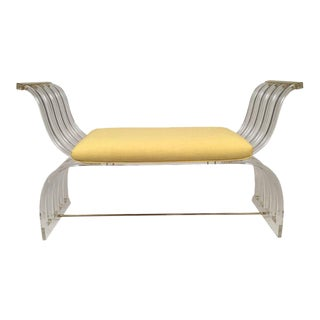 1970s Vintage Hollywood Regency Neoclassical Lucite Upholstered Bench For Sale