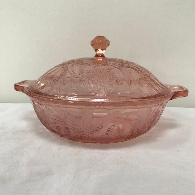 Pink 1930s Etched Pink Depression Glass Lidded Floral Design Jeannette Glass Co. Serving Bowl For Sale - Image 8 of 8