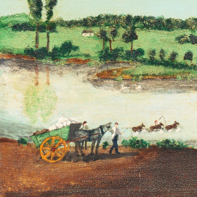 A substantial and period American school Naive landscape showing a view of figures crossing a river with numerous...