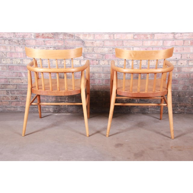Brown Paul McCobb Planner Group Solid Maple Spindle Back Armchairs - a Pair For Sale - Image 8 of 13