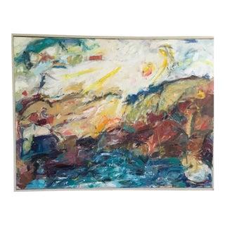 "1980s ""Western Spirits"" Ellen Reinkraut Abstract Expressionist Landscape Painting For Sale"