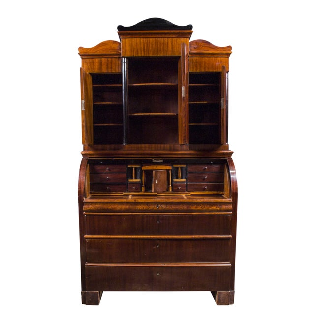 A Biedermeier Cylinder Roll Top Desk In Gany From The 1820s It Features