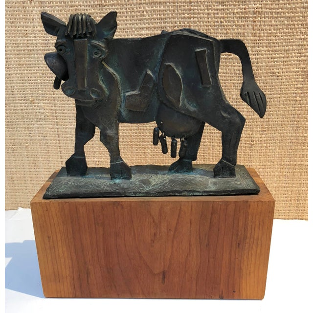 Metal 1960s Figurative Bronze Kinetic Sculpture of a Cow by James Pearson For Sale - Image 7 of 7