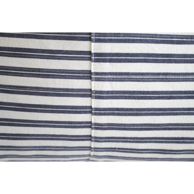 Mid 20th Century Vintage Navy Blue and White French Ticking Stripe Lumbar Pillow For Sale - Image 5 of 7