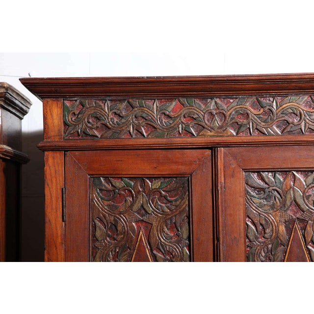 Early 20th Century Antique Javanese Teakwood Cabinet with Detailed Carvings, Early 20th Century For Sale - Image 5 of 11