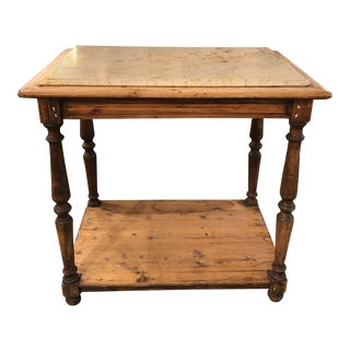 A 19th C. French Rustic Two Tier Oak Pastry Table With Resting Marble Top For Sale