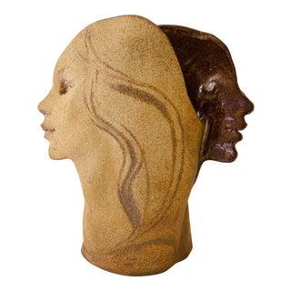 Late 20th Century Modernist Ceramic Head Face Vase For Sale