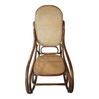 1960s Vintage Thonet-Style Bentwood Rocking Chair For Sale
