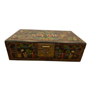 Antique Chinoiserie Hand Painted Asian Travel Box For Sale