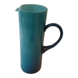 Blue Italian Venetian Glass Pitcher For Sale