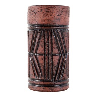 Vintage Mid Century Modern Sgraffito Swedish Art Pottery Vase by Steninge For Sale
