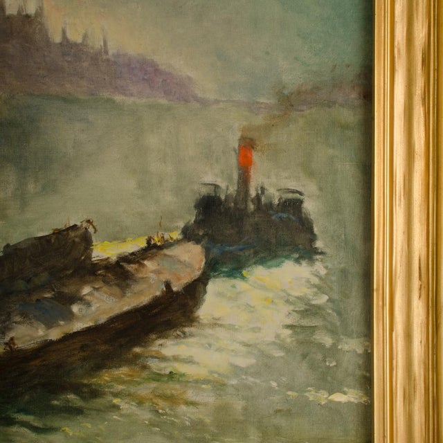 "Early 20th Century ""Towboat"" Nautical Oil Painting by Pal Fried, Framed For Sale - Image 10 of 12"