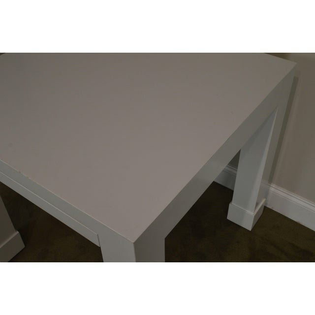 White White Lacquer Mid Century Square Parsons Game Table For Sale - Image 8 of 12