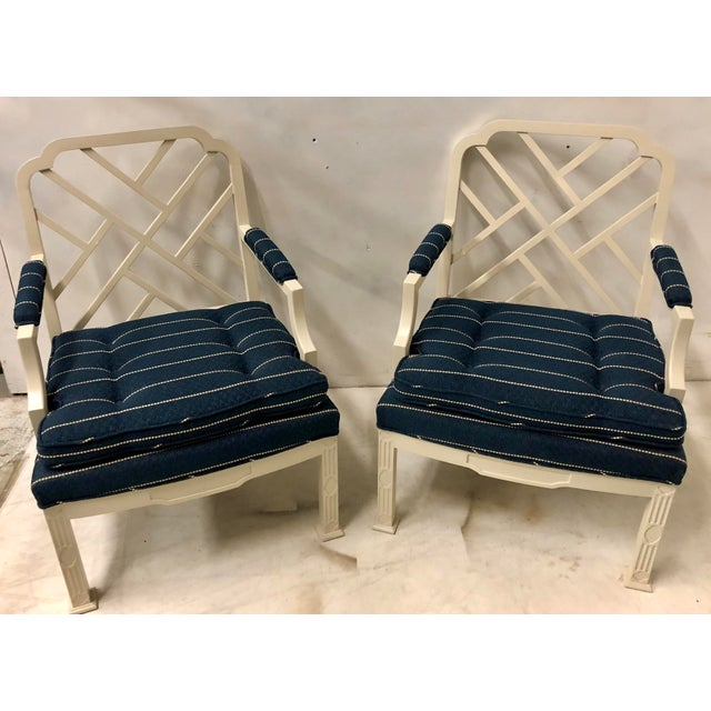 1970s Pair of Erwin Lambeth Chinese Chippendale Chairs For Sale - Image 5 of 10