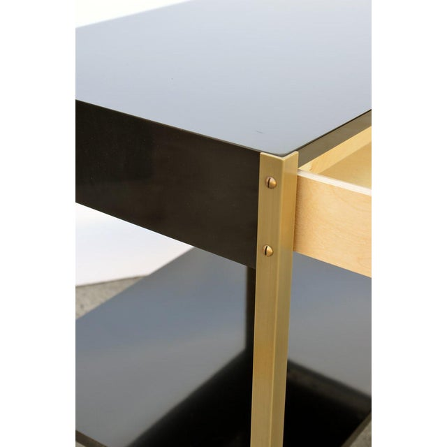 "2010s Contemporary ""Laque"" Black Lacquer and Brass Night Stand For Sale - Image 5 of 7"